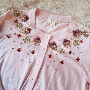 Kate Spade pink embellished beaded cardigan med